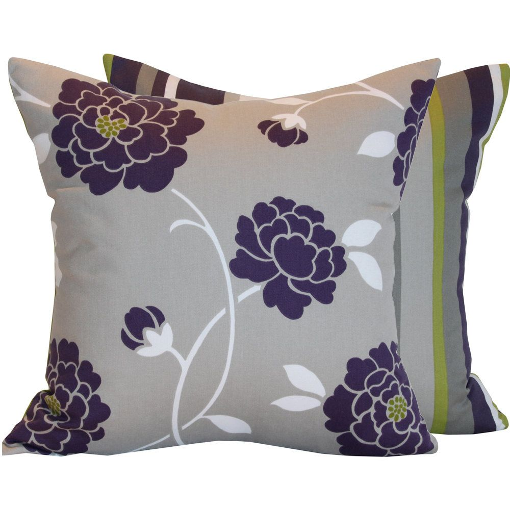 Purple pillow cover x decorative double sided flowers with