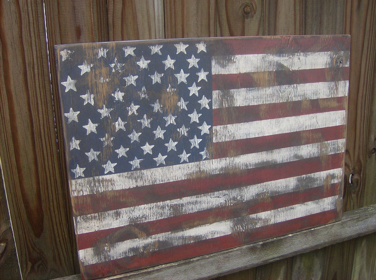 Awesome Distressed American Flag Wall Decor. $25.00, Via Etsy. Part 6