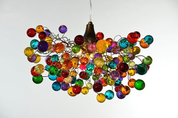 Multicolored bubbles light fixture, hanging lighting with different size of bubbles for children room or dining room. unique lighting