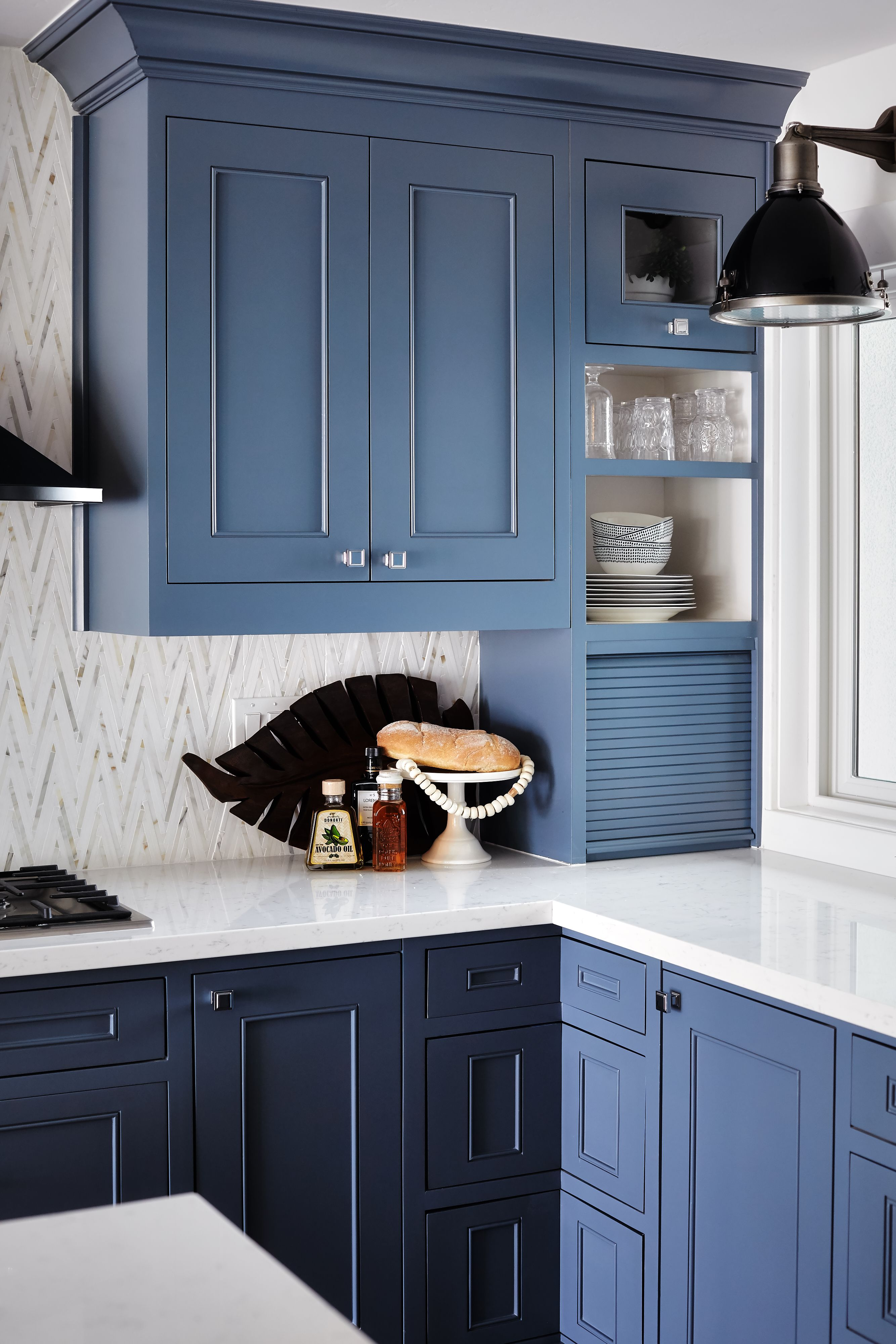 Blue Shaker cabinets, contemporary white tile back splash and ...
