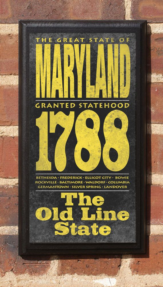 Maryland Wall Art Sign Plaque Gift Present MD Baltimore Bethesda ...