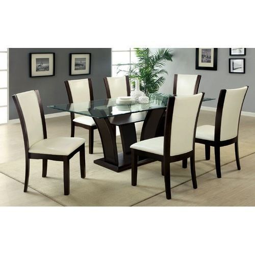 7PC Glass Dining Set Cherry Top Table 6 Leather Chairs Contemporary