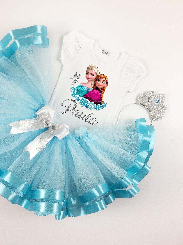 Toddler Frozen Tutu Frozen Birthday Outfit Elsa and Anna Tutu Birthday Set