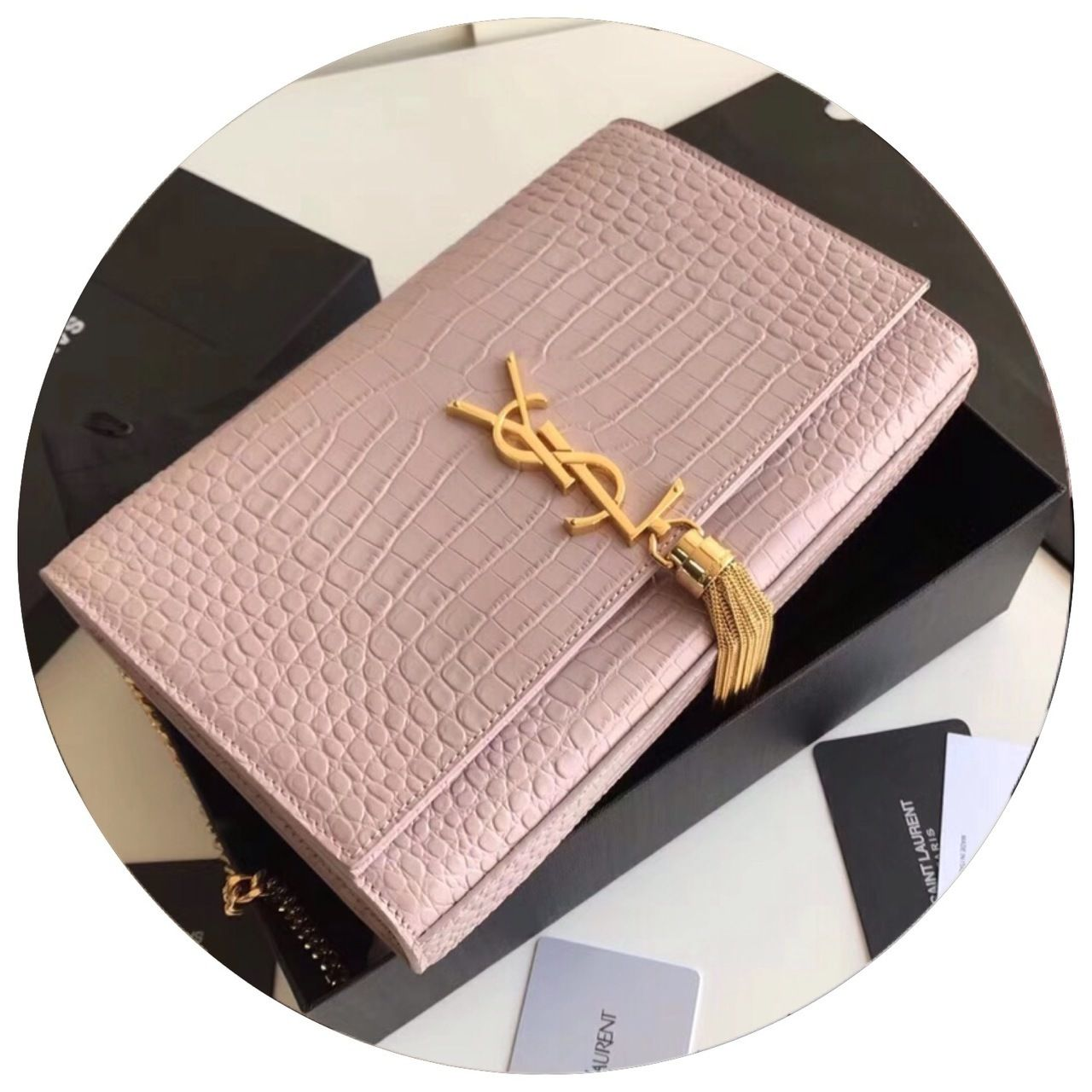 d3fd0cd08335 Saint Laurent CLASSIC MEDIUM KATE TASSEL SATCHEL IN POWDER PINK CROCODILE  EMBOSSED SHINY LEATHER WITH GOLD HARDWARE - Bella Vita Moda #ysl bag  #ysllover ...