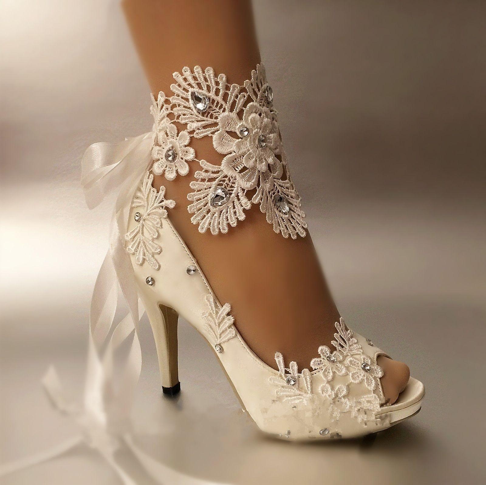f7541b89e5d Barato Sapatas de vestido Das Mulheres Bombas sapatos de casamento do laço  do dedo do pé Aberto Peep Toe Riband Mancha Elegante Salto Alto tamanho  grande 41 ...