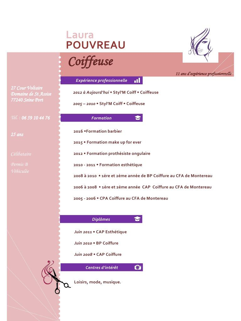 Laura Cv Laura Cv Pdf Fichier Pdf Modele Cv Gratuit Pour Coiffeuse Cv Words Resume Words Motivation Pdf