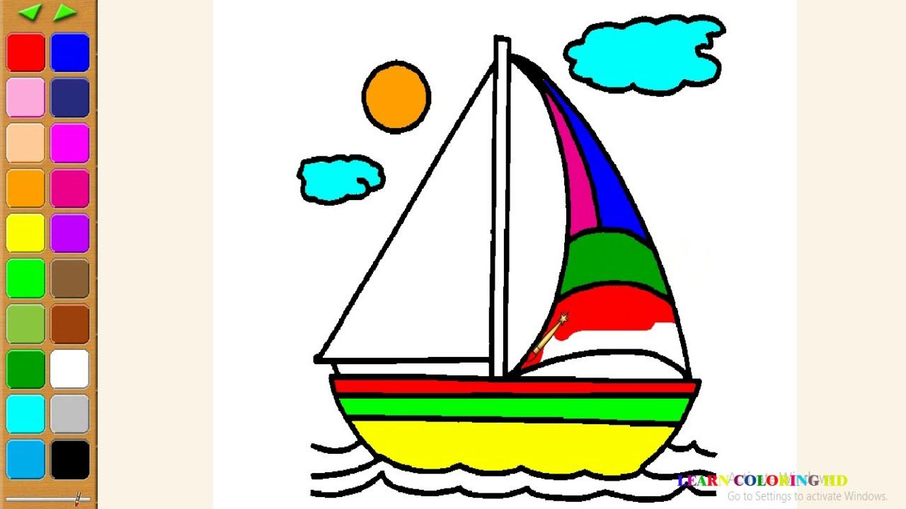 How To Draw Boat Coloring Page For Kids I Learn Coloring Book With Boat Coloring Pages For Kids Coloring Books Boat Drawing [ 720 x 1280 Pixel ]