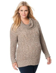 af5f6be2f630a Motherhood Maternity Jessica Simpson Plus Size Long Sleeve Cowl Neck  Pointelle Maternity Sweater