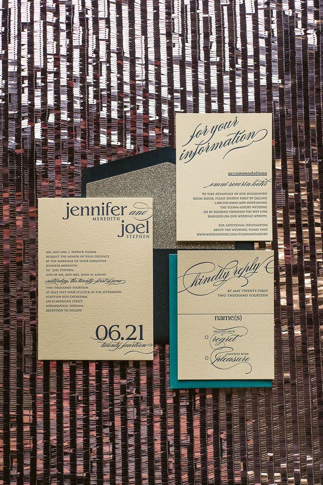 CYNTHIA Suite Glitter Package, elegant wedding invitations, black tie wedding invitations, silver glitter, peacock, teal, navy, ecru, cream, letterpress wedding invitations