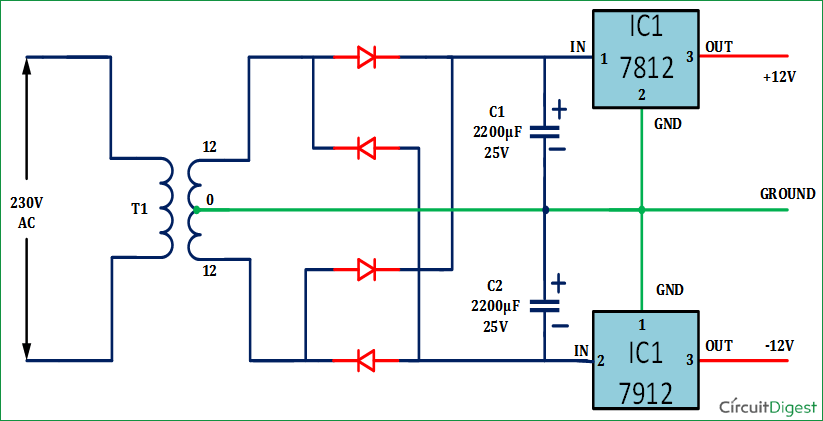 12v And 12v Dual Power Supply Circuit Power Supply Circuit Circuit Diagram Circuit