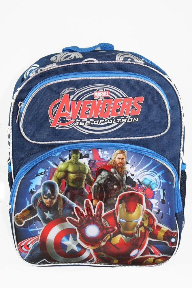 Marvel Avengers Age Of Ultron 14 Backpack School Book Bag Hulk Iron Man Thor Marvelavengershulkironmanthorcaptainamerica Bookbag