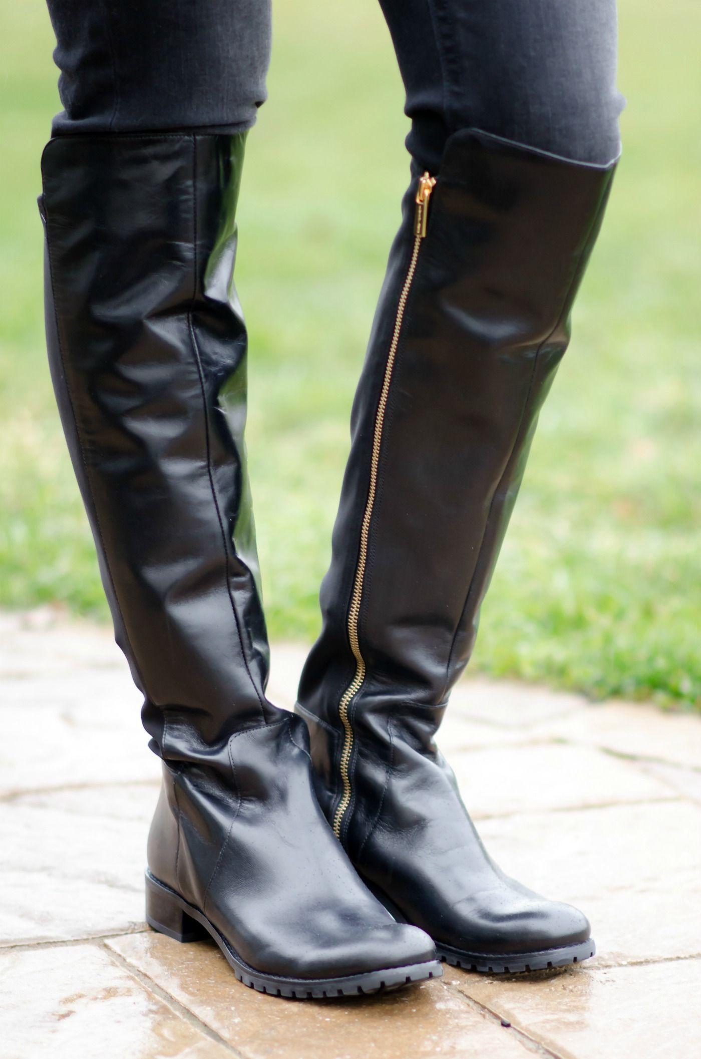 Found: Flat Black OTK Boots | Boots