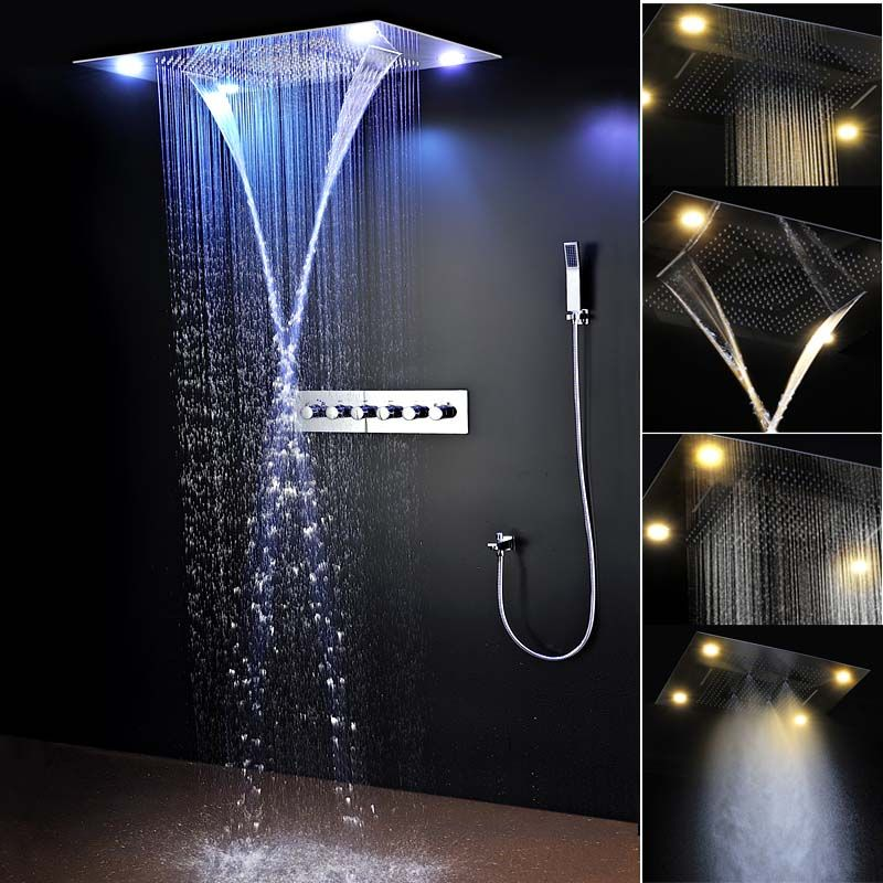Bathroom Fixture Shower Faucets Ceiling Mounted Waterfall Mist Shower Head Big Rain Led Shower Set Shower Set Shower Systems Shower Faucets