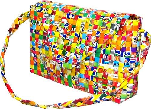 Candy wrappers are folded and woven together to create this purse.