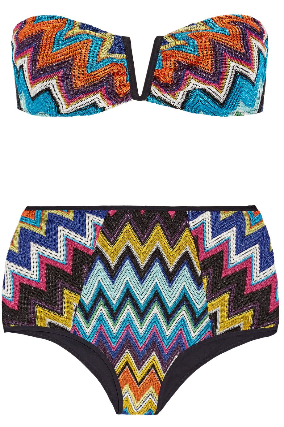 4fbb8e9889 MISSONI Mare Metallic Crochet-Knit Bandeau Bikini. #missoni #cloth #bikini