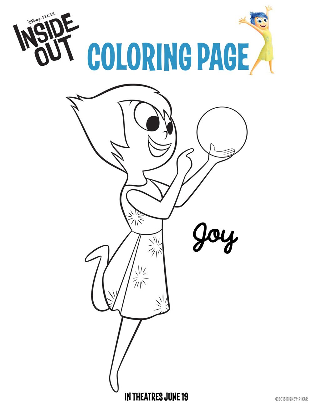 Amazing Disney Inside Out Joy Coloring Page