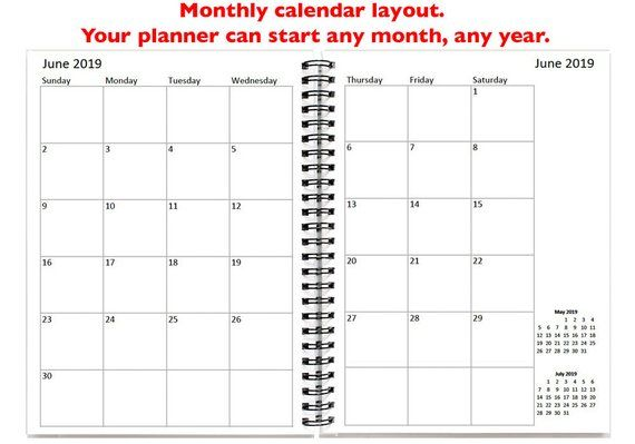 12 or 24 month Monthly Planner, Personalized 2018 2019 Calendar