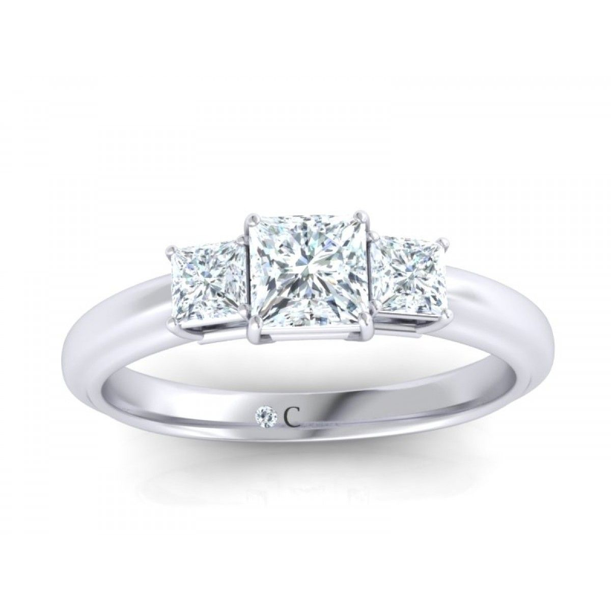 three stone princess cut diamond engagement ring set in white gold