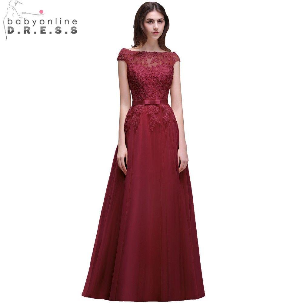 Babyonline bonita borgonha lace applique vestidos de noite off