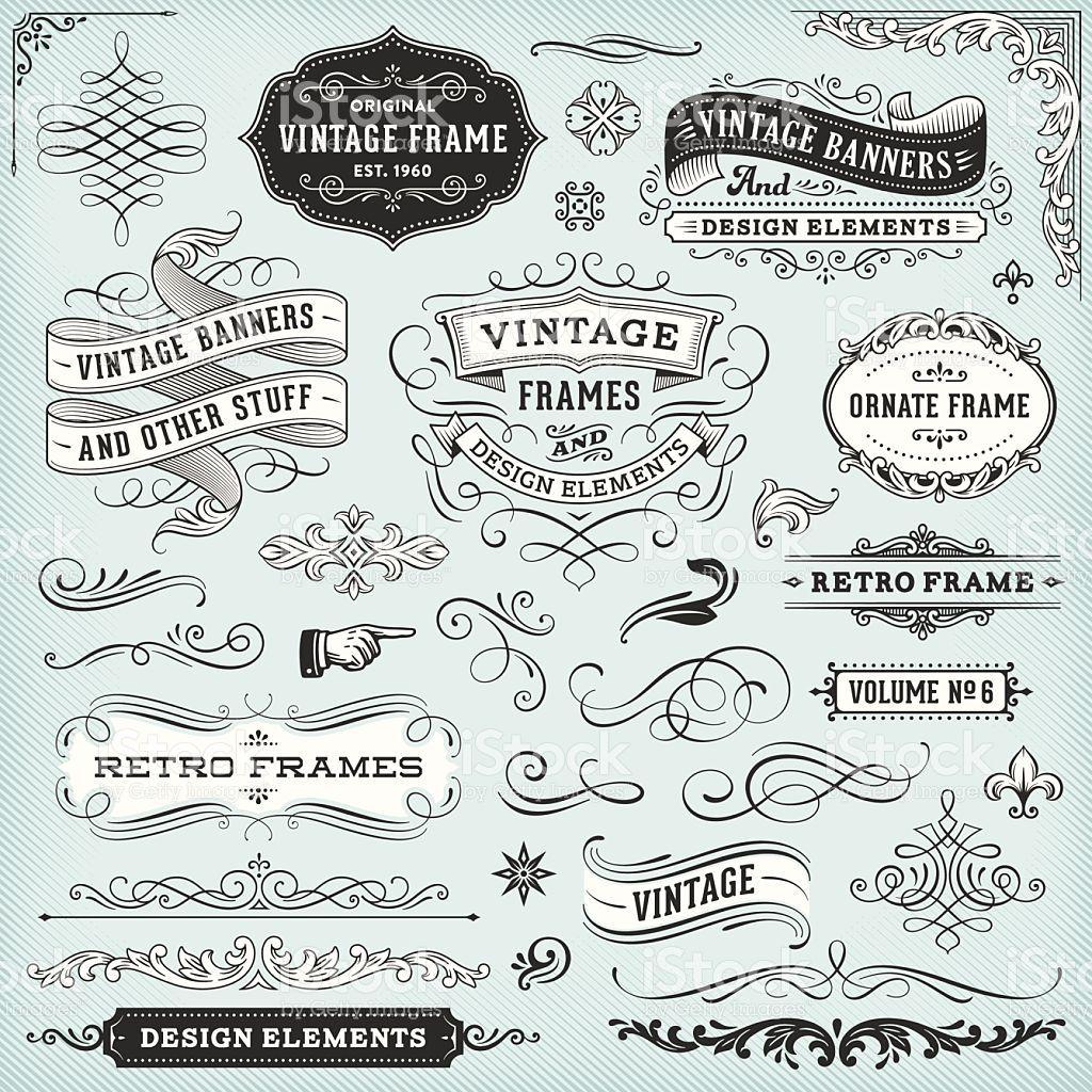 Set Of Ornate Badges Frames Banners And Design Elements All Elements Vintage Banner Vintage Frames Design Elements