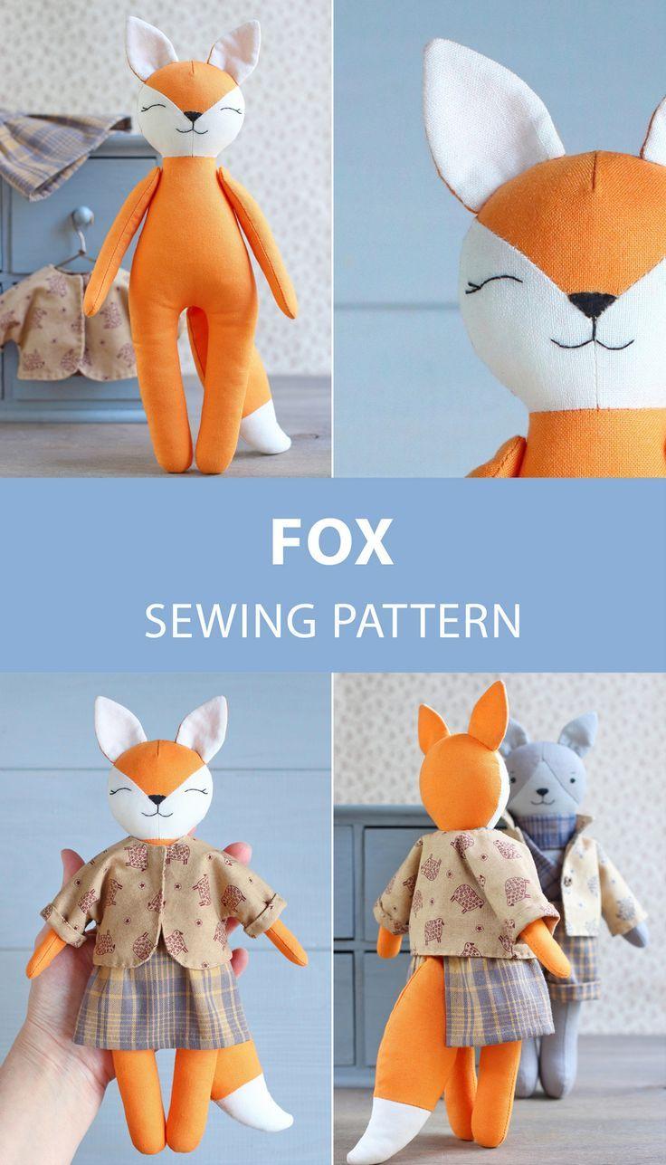 PDF Fox Schnittmuster & Tutorial - DIY Wald Tier gefüllte Stoffpuppe, Stofftier, Fox Pupp...