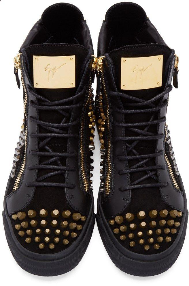 5c8e5f2796fb Giuseppe Zanotti Black Studded London High-Top Sneakers