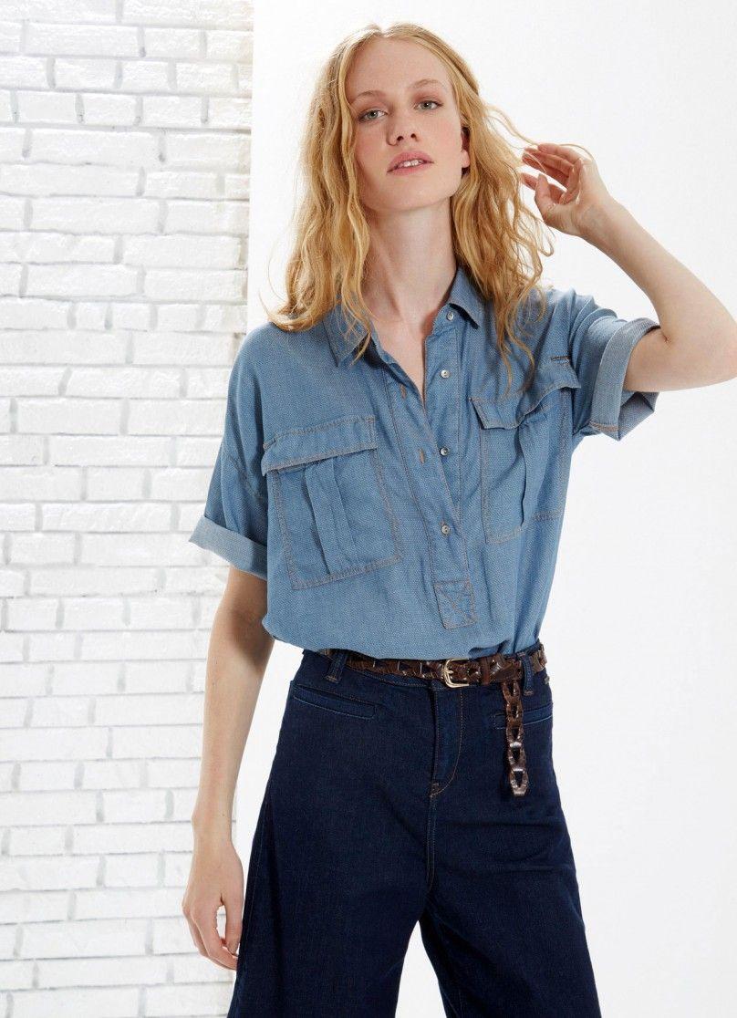Chemise en tissu de coton à manches courtes. Col classique et poches avant à rabat. Boutonnée jusqu'à la taille. | Pepe Jeans