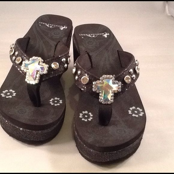 "Sandals Sandals 3"" glitter wedges black with cross Crystal Montana West Shoes Wedges"