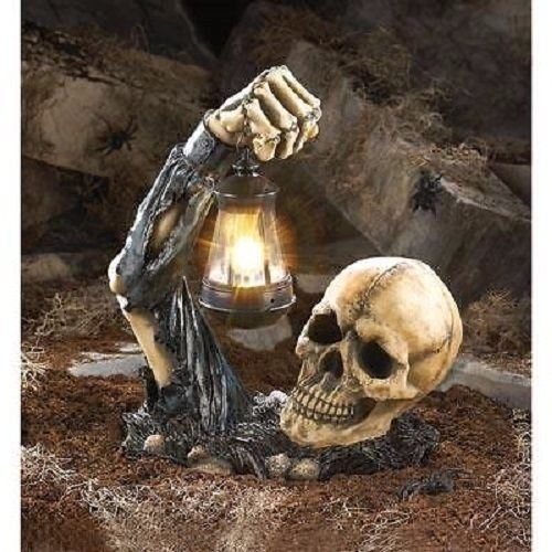 Zombie-Skull-W-Lantern-Halloween-Decoration-Haunted-House-Scary - halloween decorations haunted house