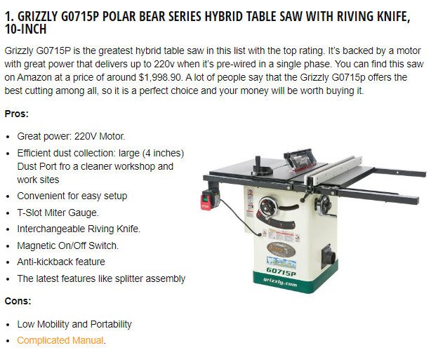 Best Hybrid Table Saw Reviews 2020 Sawinery in 2020