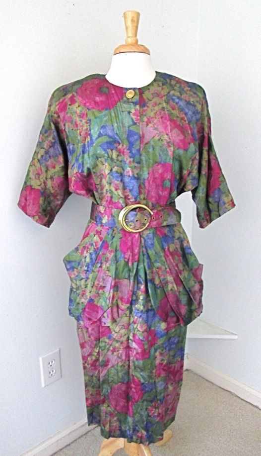 Vtg 80s Pink Purple Green Metallic Floral Peplum Dress Pencil Skirt Dolman Slvs