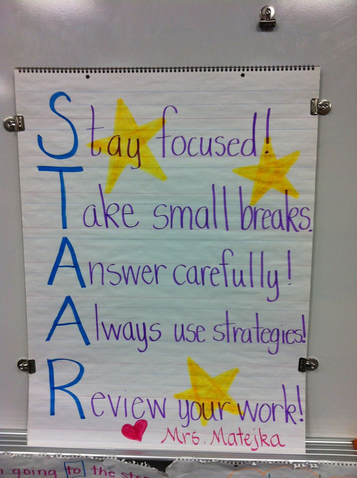 Classroom Job Ideas For 4th Grade : Great classroom poster for staar test ways to make my