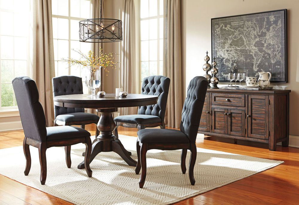Allegro 5 Pieces Traditional Dining Room Set Brown Round