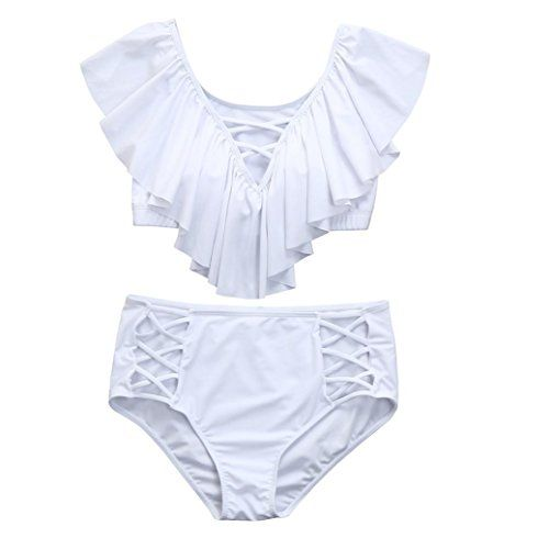 c3941ca6974 Elogoog Women s Plus Size Sexy Ruffles Off Shoulder High Waist Bikini Two  Piece Set Swimsuit