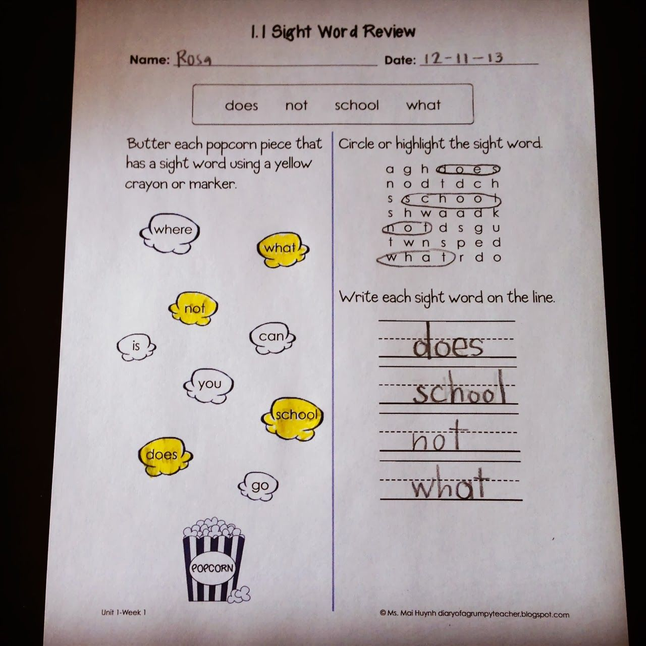 Diary of a Grumpy Teacher: Monday Made It-Sight Words   Sight word  worksheets [ 1280 x 1280 Pixel ]