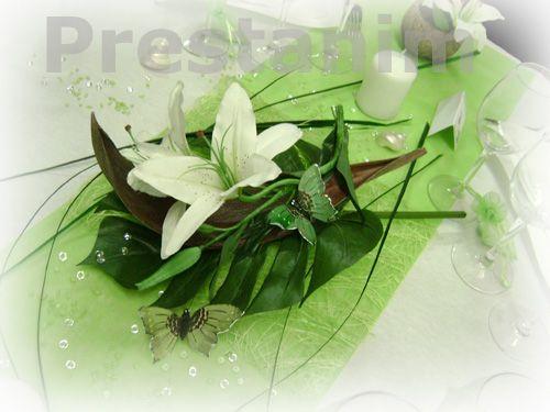 Centre de table coco avec de l anis fleur de lys feuillage for Centre de table vert anis