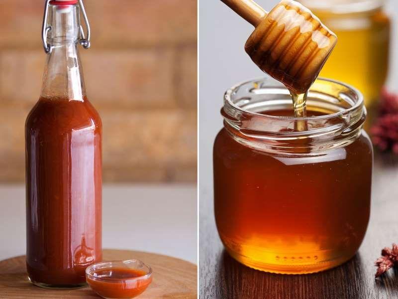 Hot sauce and honey - RBOZUK/iStockphoto/Getty Images; OlgaMiltsova/iStockphoto/Getty Images