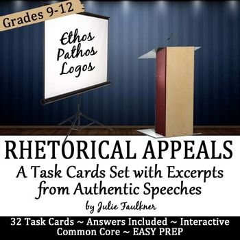 Persuasive Appeals in Famous Speeches Task Cards (Ethos