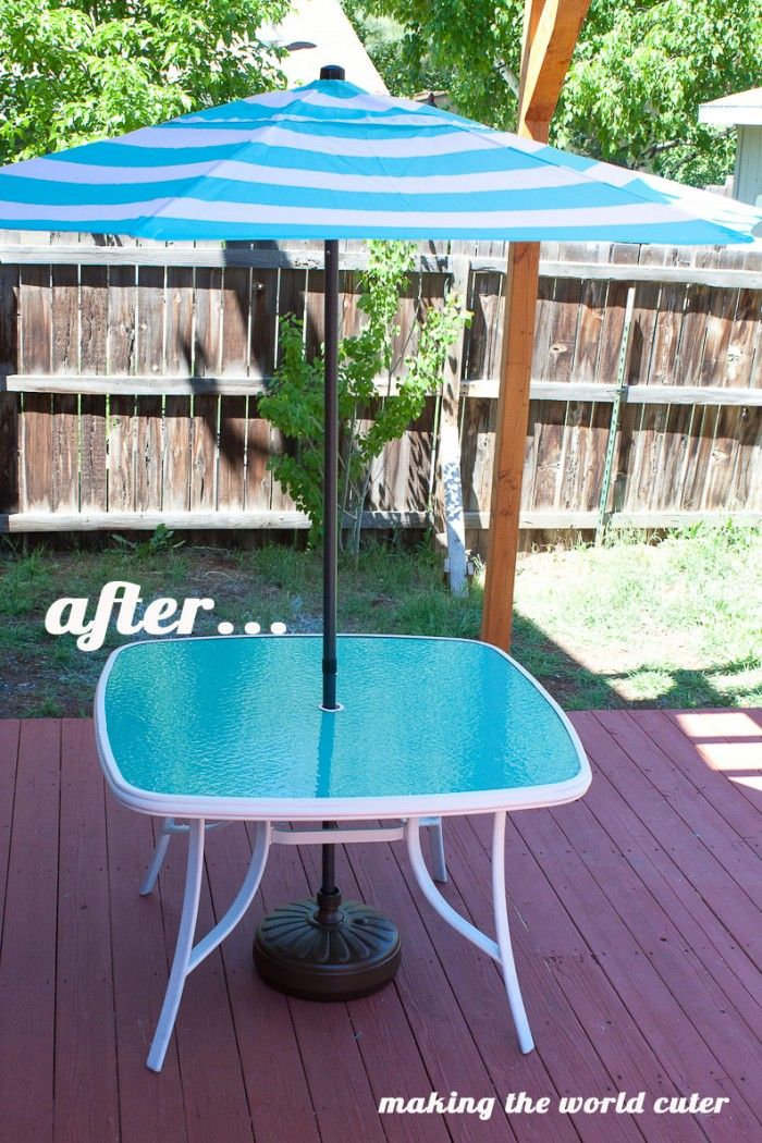 Here Is An Easy And Super Cute Glass Patio Table Makeover Using Paint! It Is