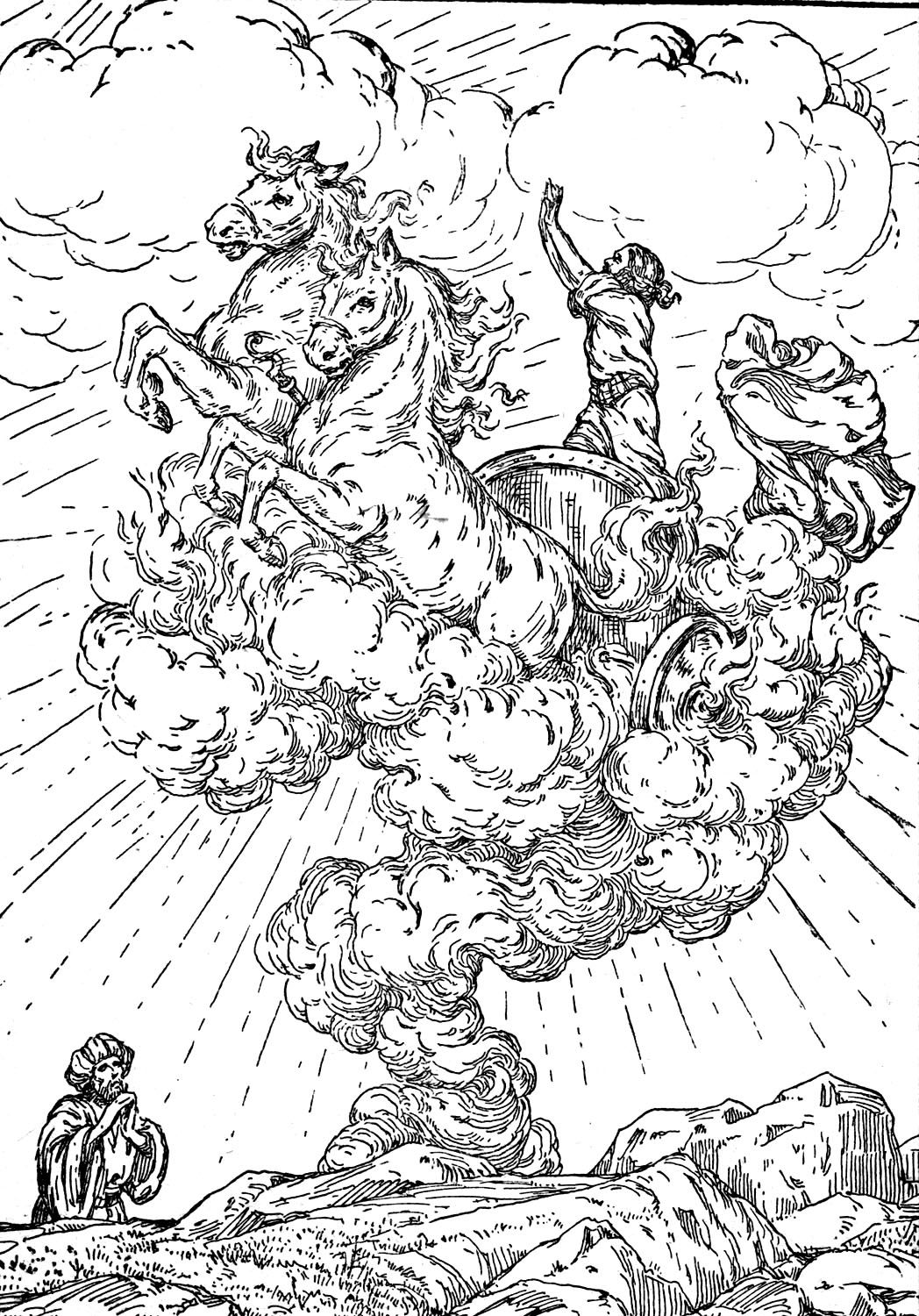 Elijah Taken Up In The Whirlwind Old Testament Coloring Page