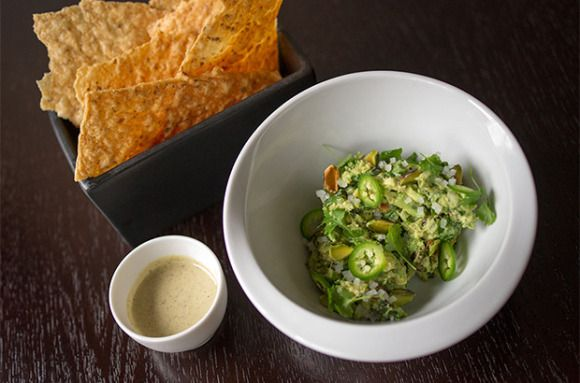 Guacamole with Pistachios and Smoked Cashew Salsa from Chef Andrew Zimmerman