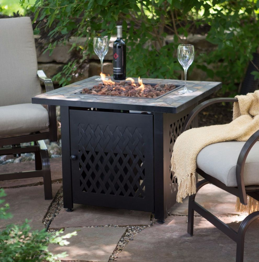 Outdoor Fire Pit Table Propane Gas Backyard Patio Fireplace Heater Bowl W/  Cover #OutdoorFirePitTablePropaneUSA