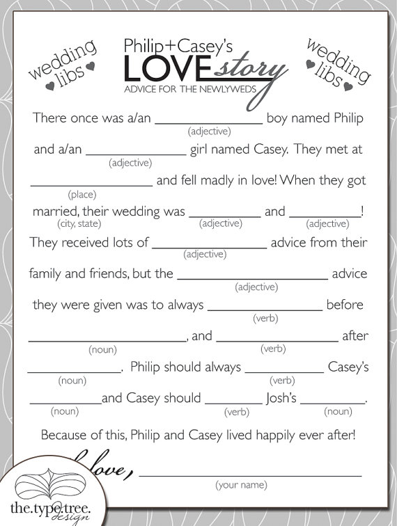Wedding Mad Libs Diy Printable Pdf File