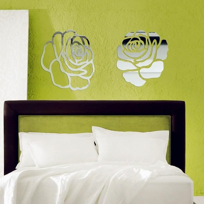 2pcs of cut out rose flower mirror sticker , 40x40cm beautiful art ...
