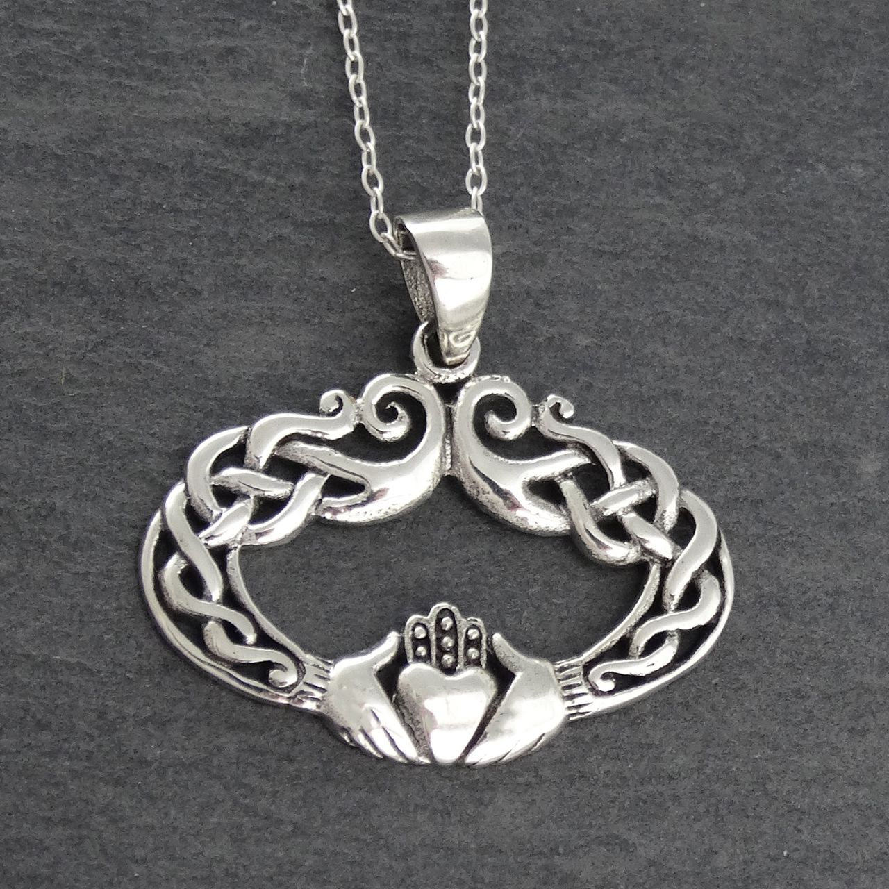1161cda2fb252 FashionJunkie4Life - Celtic Knot Irish Claddagh Necklace - 925 Sterling  Silver