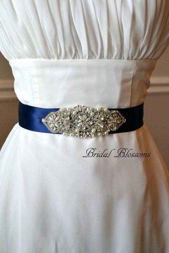 Blue Rhinestone Wedding Dress