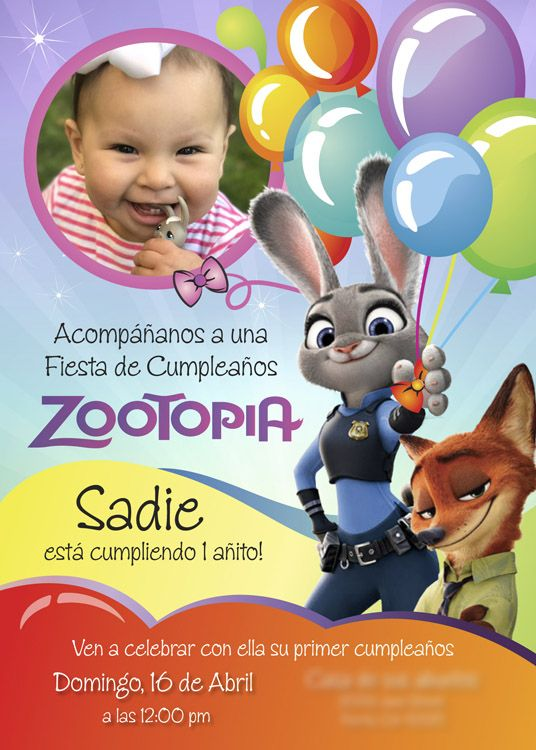 Ejemplo Invitación Zootopia de cumpleaños en español. | #zootopia #zootopiaspanish #zootopiaespañol #zootopiainvitations #judyhoops #nickwilde #myheroathome