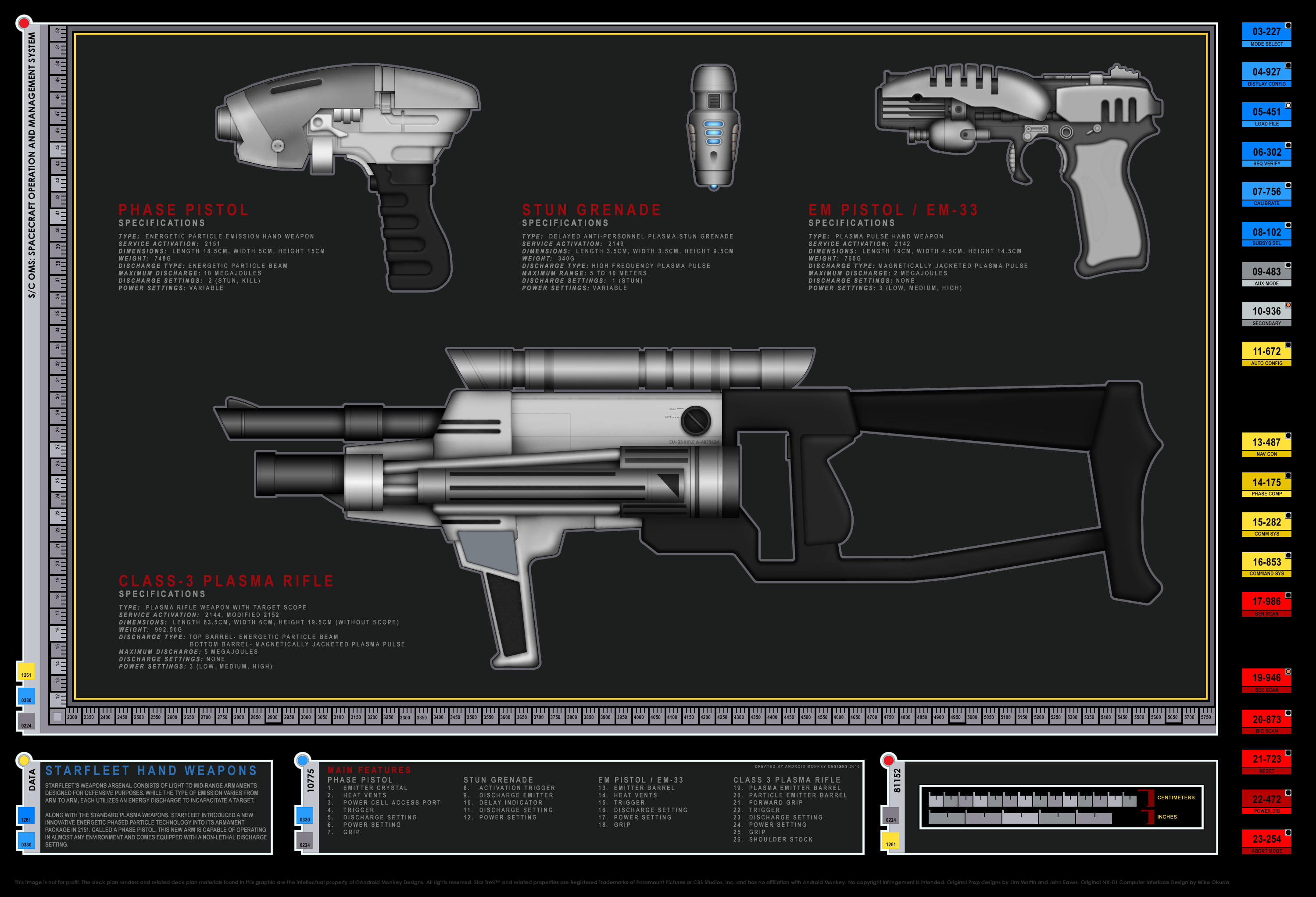 Nice Colored Schematic Of Starfleet Weapons; Columbia Class Starship; U.S.S. Enterprise  NX 01