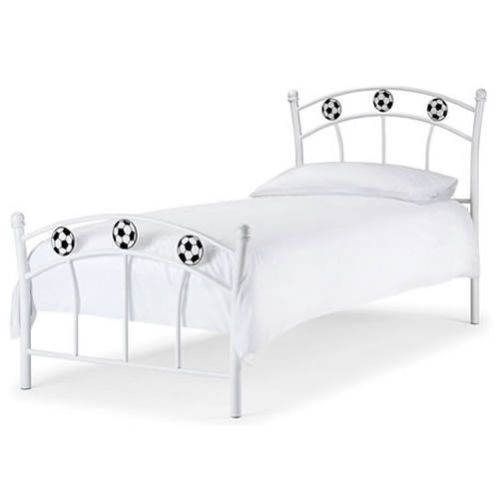 Kids Bed Frames Childrens Single Football Headboard Sprung Slats Metal White New