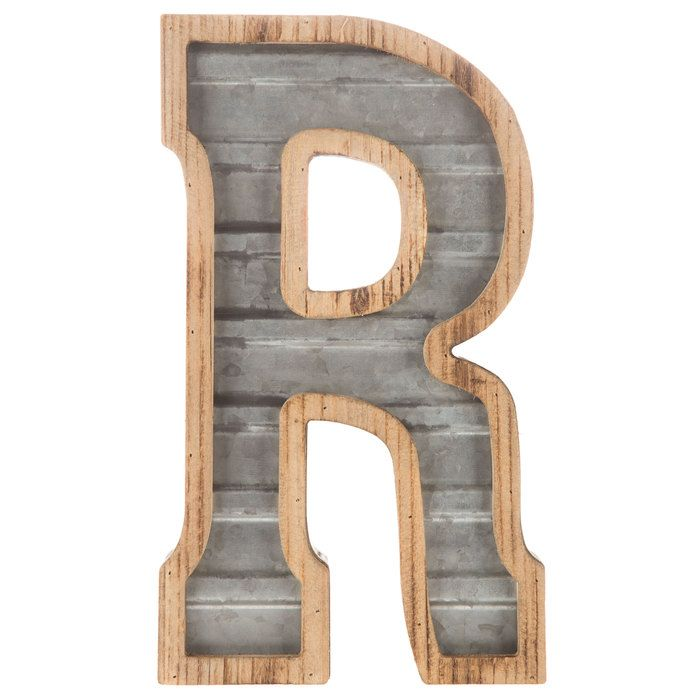 Wood Galvanized Metal Letter R Metal Letter Wall Decor